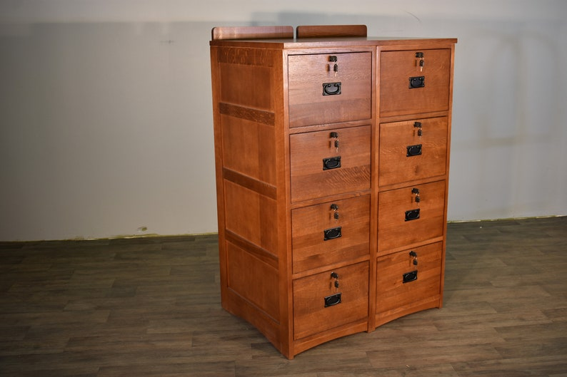 Set Of 2 Mission Style Solid Oak 4 Drawer File Cabinet With Locking Drawers