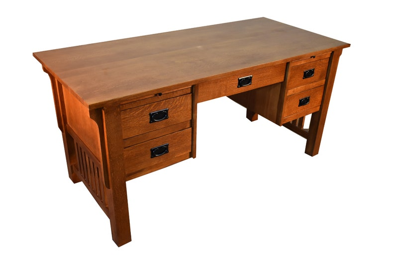 Admirable Mission Style Solid Quarter Sawn White Oak Desk Library Table With 5 Drawers 2 Pull Out Writing Trays Download Free Architecture Designs Scobabritishbridgeorg