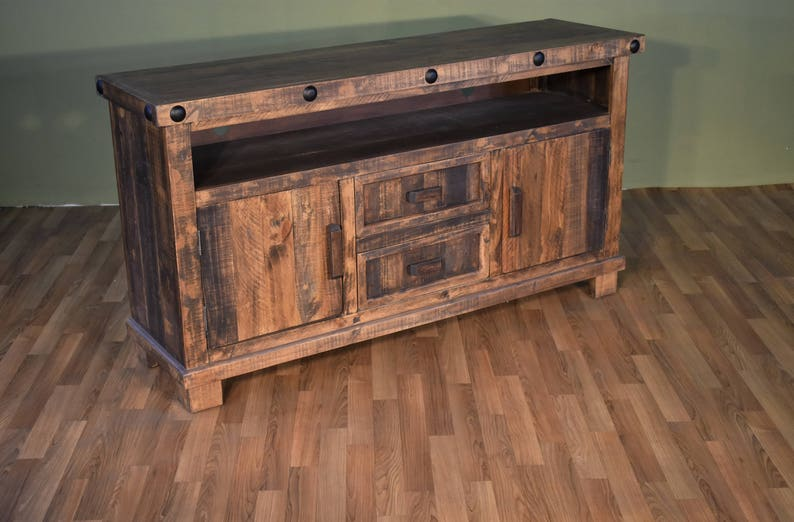 newest collection db6e0 6f91f Rustic Reclaimed Solid Wood TV Stand / Media Console or Sofa Table