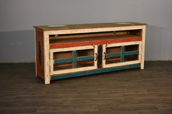 Rustic Farmhouse Style Solid Wood 55 Inch Tv Stand With Four Etsy