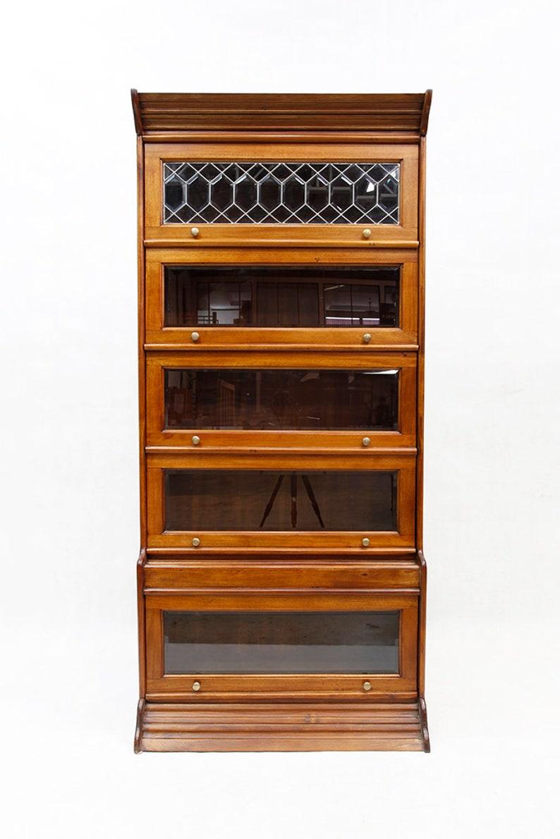 Mahogany Wood 5 Door Barrister Bookcase With Leaded Glass Top Door Light Brown Walnut
