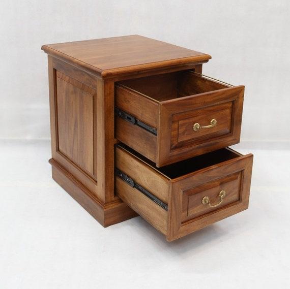 Rustic Vintage Walnut 2-Drawer File Cabinet Foa Black Brown Cabin Lodge MDF Veneer Wood Mobile