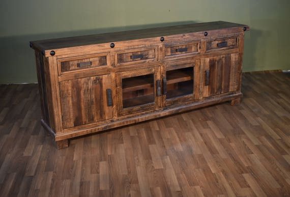 Rustic Reclaimed Solid Wood 80 Inch Tv Stand Media Console Etsy