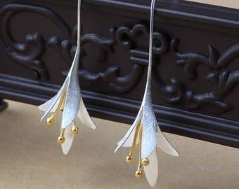 Sterling Flower, Sterling Silver Earring, 925 Silver Earring, Silver Earrings, Sterling Silver, Dangle Earrings, Minimalist Earrings, Gift
