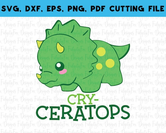 Cry Ceratops Dinosaur Svg Dxf Epspdf Png Files For Cutting Etsy