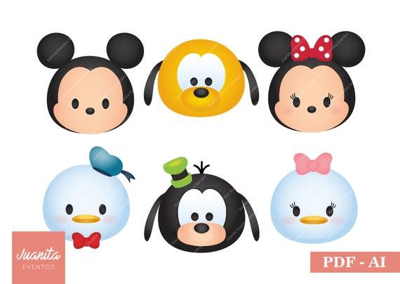 Disney Tsum Tsum Para Colorear Piglet Tusm Tusm: Tsum Tsum Disney Personajes Clipart PDF AI Mickey Minnie
