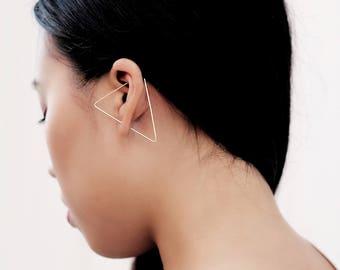 Triangle, Ear Climber, Minimalist Earrings, Geometric Earrings, Dainty Earrings, Wire Earrings, Minimalist Jewelry, 14K Gold Filled, Silver