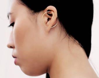 Circle, Ear Climber, Minimalist Earrings, Geometric Earrings, Dainty Earrings, Wire Earrings, Minimalist Jewelry, 14K Gold Filled, Silver