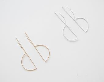 3D Semi-Circle, Minimalist Earrings, Geometric Earrings, Threader Earrings, Dainty Earrings, Minimalist Jewelry, Silver, 14KGoldFilled