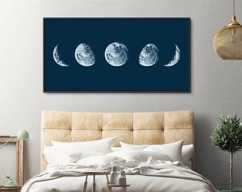 Moon Phases Print, Moon Phases Poster, Phases of the Moon, Moon Print, Nursery Wall Art, Panoramic Print, Above Bed Decor, Large Wall Art