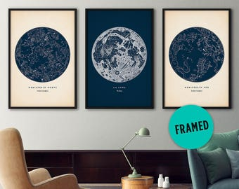 Star map set of 3, Framed art, Star map, Constellation print, Star chart, Astronomy print, Moon poster, Large frame, Constellation poster