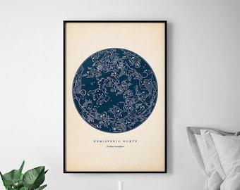 Star Chart Print, Northern Constellations, Star Map, Star Print, Nautical Decor, Astronomy Poster, Celestial Wall Art, Dorm Wall Decor