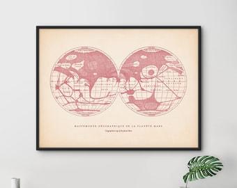 Mars Print, Star Map, Map of Planet Mars, Mars Print, Astronomy Poster, Solar System Print, Astronomy Room Decor, Large Print, Nursery Decor