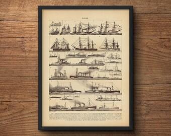 Nautical Wall Art, Sailing Art, Sailboat Wall Art, Vintage Sailboat, Large Wall Art, Large Poster, Nautical Prints, Beach Art, Vintage Art