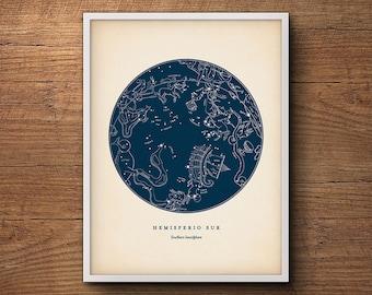 Constellations Print, Southern Hemisphere, Star Chart, Star Map, Star Print, Nautical Decor, Astronomy Poster, Celestial Wall Art
