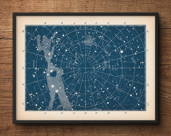Star Map, Star Chart, Constellation Print, Constellation Map, Constellation Poster, Star Poster, Astronomy Print, Nautical Decor, Wall Art