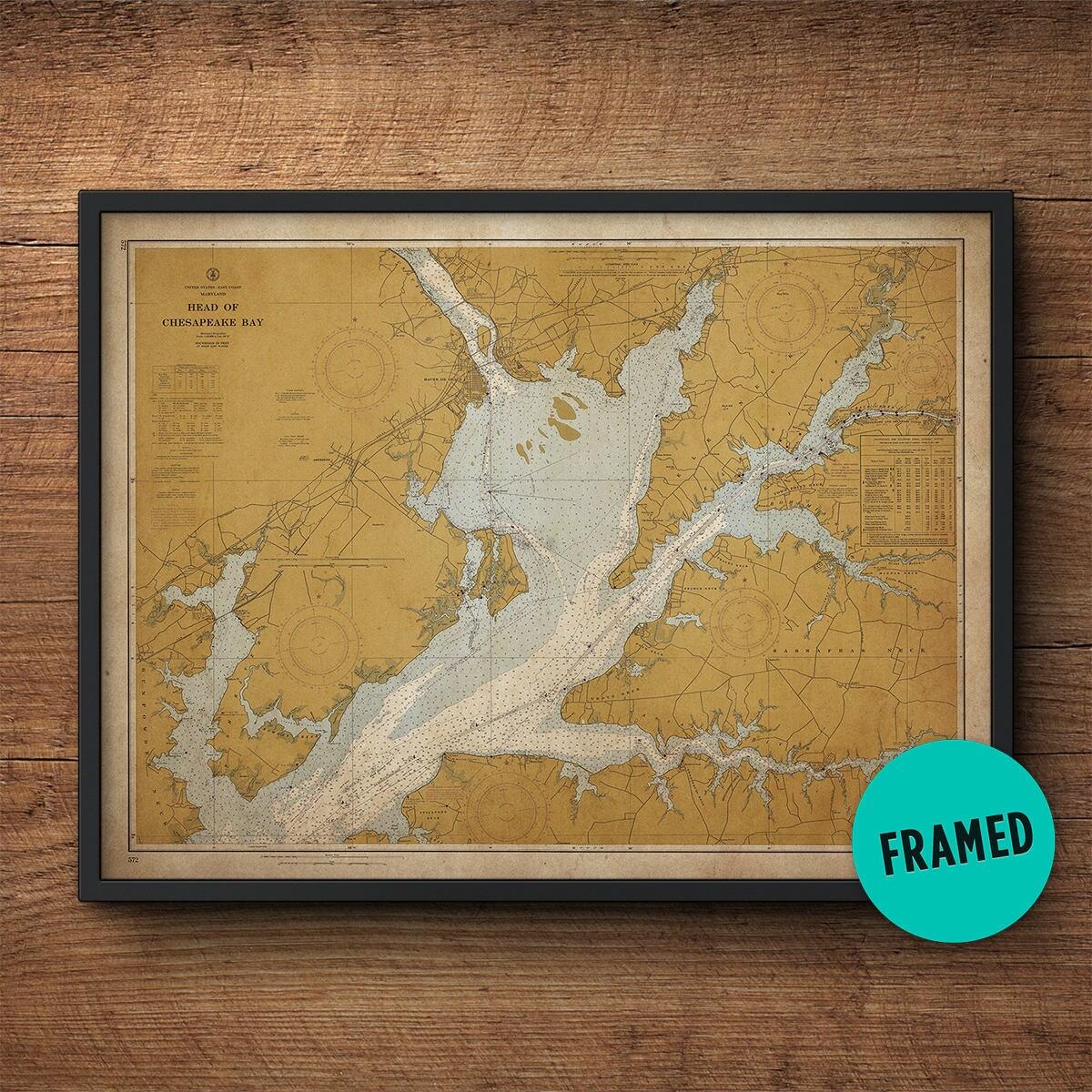 Oberen Chesapeake Bay Karte gerahmte Kunst Maryland Karte | Etsy