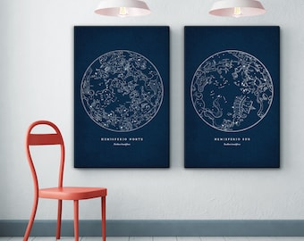Constellations Print Set of 2 on Canvas, Star Map, Constellation Art, Constellation Print, Astronomy Print, Constellation Poster, Star Chart