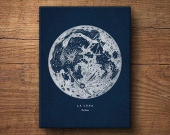 Moon Print on Canvas, Full Moon Poster, Moon Print, Moon Art, Large Moon Print, Nautical Decor, Astronomy Print, Canvas, Wall Decor
