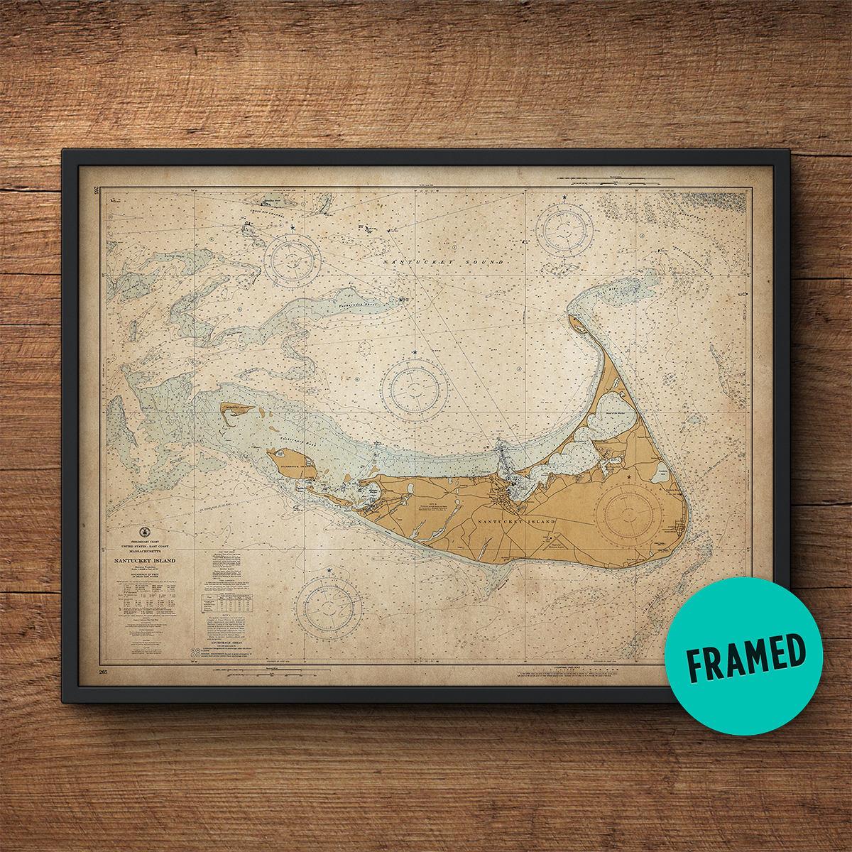Nantucket Karte große gerahmte Kunst Landkarte nautischen   Etsy