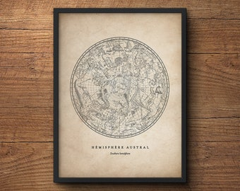 Constellations Print, Southern Hemisphere, Star Chart, Star Map, Star Print, Nautical Decor, Astronomy Poster, Large Wall Art, Antique