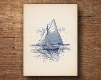 Sailboat Print, Canvas Art, Nautical Decor, Ship Print, Beach Decor, Coastal Print, Sailing Art, Boat Print, Wall Art, Large Art