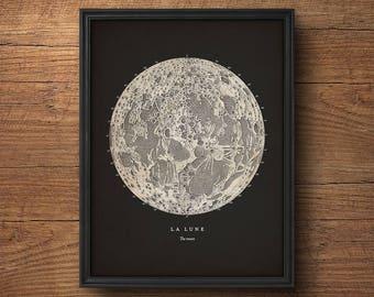 Moon Print, Full Moon Print, Moon Poster, Moon Wall Art, Nautical Decor, Astronomy Print, Astronomy Poster, Astrology Art, Celestial Map