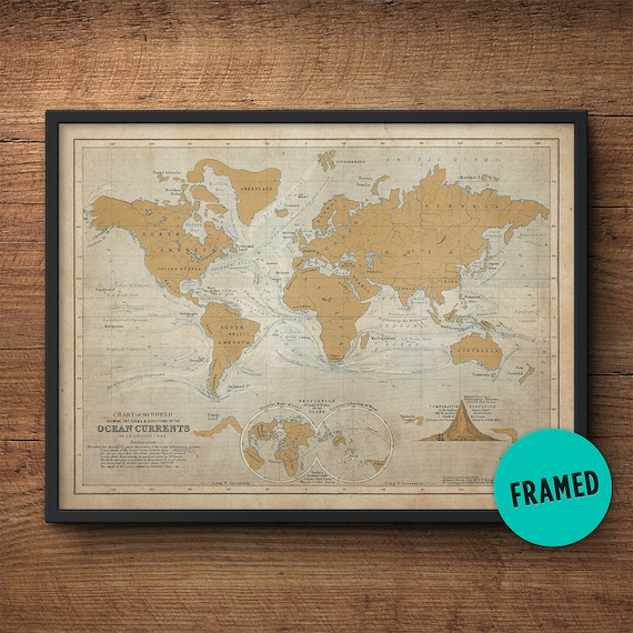 World Map Framed Large Framed Art Nautical Decor Nautical Etsy