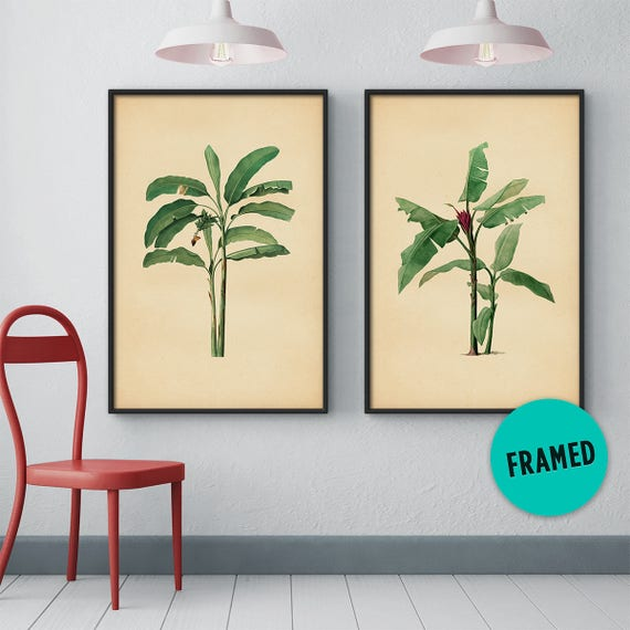 Banana Leaves Print Set of 2 Palm Leaf Wall Art Tropical | Etsy