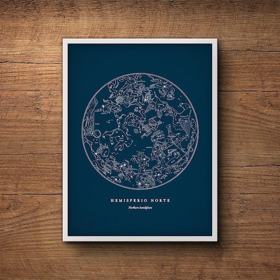 Star Map Print Northern Hemisphere Star Chart Constellation Etsy - Star map northern hemisphere