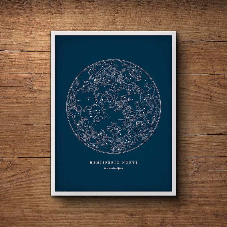 Star Map Print Northern Hemisphere Star Chart Constellation Etsy
