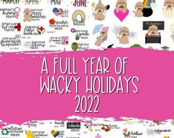 2022 Wacky Holidays, Hand Drawn Planner Stickers