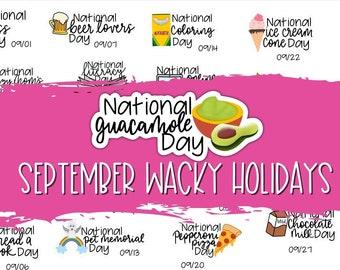 September Holidays/ National Days Planner Stickers, Wacky Holidays