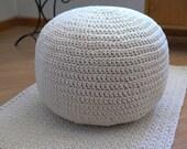 Knitted pouffe ,Cotton cord,Bean bag, Pouf, footrest ball Knit,Ottoman, Footstool, Pillow, Floor cushion, Puff, Crochet pouf, 55 cm