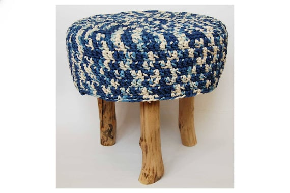 Fine Sale Pixel Pattern Knitted Pouf Floor Round Pouf Ottoman Wooden Legs Footstool Natural Dyed Indigo Nature Furniture Cjindustries Chair Design For Home Cjindustriesco