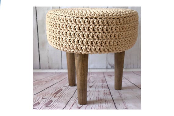 Marvelous Knitted Pouf Floor Round Pouf Ottoman Walnut Wood Legs Footstool Round Timber Stool Table And Chairs Boho Furniture Frankydiablos Diy Chair Ideas Frankydiabloscom