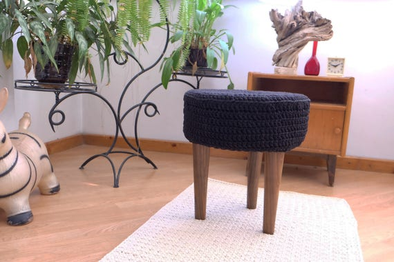 Brilliant Knitted Pouf Floor Round Pouf Ottoman Wooden Legs Footstool Boho Furniture Squirreltailoven Fun Painted Chair Ideas Images Squirreltailovenorg