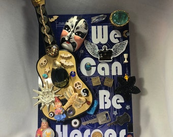 We Can Be HEROES, Guitar, Keys, Original Art, Handmade, One Of A Kind