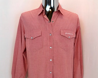 85eeab44 80s DOCKERS Western Dress Shirt / Vintage Pearl Snap Button Fancy Rodeo  Line Dancing WESTERN Ranchwear Mens Size Medium