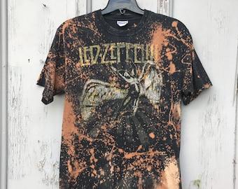 b5035d36d719 90s LED ZEPPELIN Graphic Tee / Retro Bleach Splatter Cosmic Led Zeppelin  ICARUS T Shirt Mens Size Medium