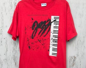 3d8a54cc0c199d Early 90s JAZZ SOCIETY of Oregon Souvenir T Shirt   Retro Jazz Piano Puffy  Graphics Oregon Music Souvenir Shirt Mens Size Large