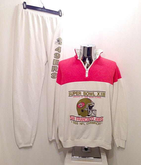 RARE 1988 San Francisco 49ers 2 Piece Sweatsuit   Vintage NFL  99f94b4b8
