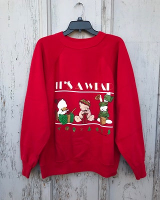 1990 Christmas Sweatshirt  Ugly Christmas Sweater Party Its A Wrap Playful Bear Duck Bunny Holiday Sweatshirt Mens Size LARGE