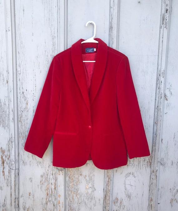 80s RED VELVET Blazer / Vintage Haberdashery by P… - image 1