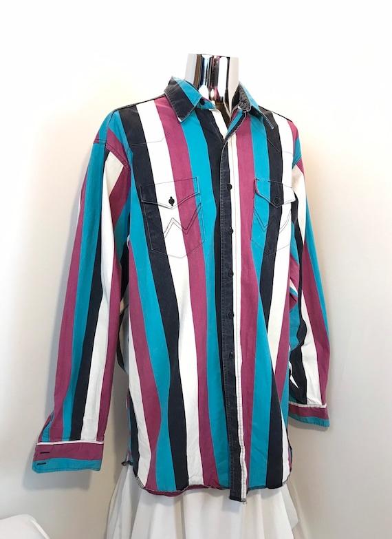 ce54a3ecb4 90s WRANGLER Western Show Shirt   Retro Vertical Striped