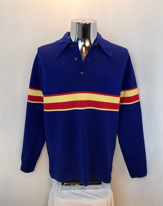 ce867d1e8512 70s Mr D Polo Shirt   Vintage Vibrant Blue Long Sleeve Wool