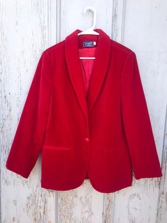 80s RED VELVET Blazer / Vintage Haberdashery by P… - image 8