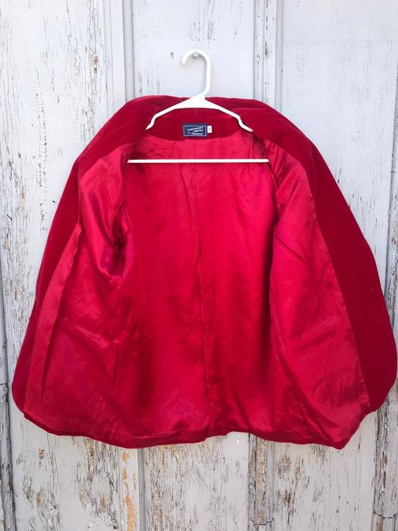 80s RED VELVET Blazer / Vintage Haberdashery by P… - image 7