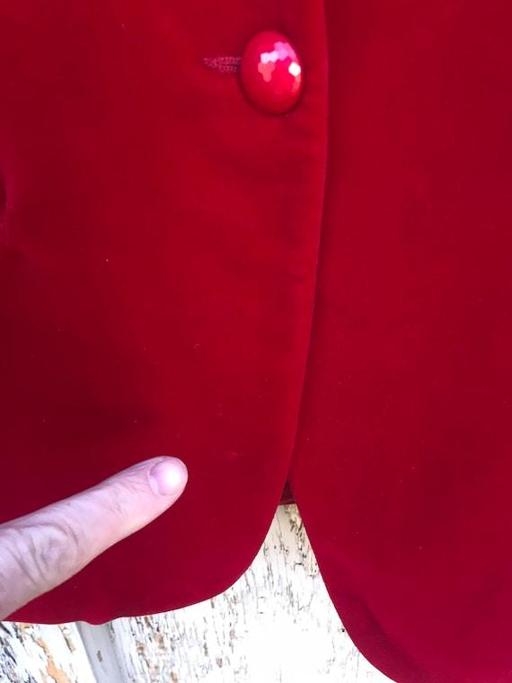 80s RED VELVET Blazer / Vintage Haberdashery by P… - image 5