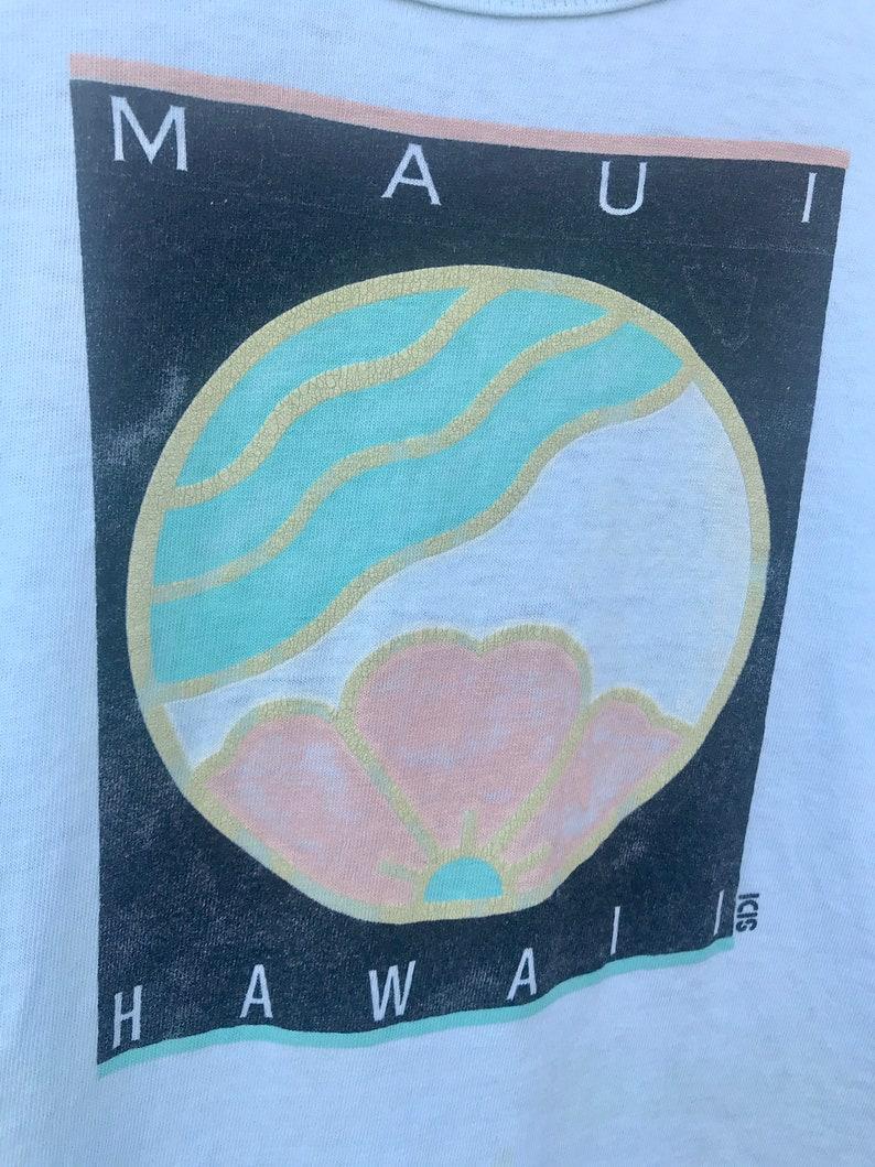Cute 80s MAUI Tank  Vintage Maui HAWAII Beach Surfwear Lightweight Soft Tank Top Womens Size MEDIUM
